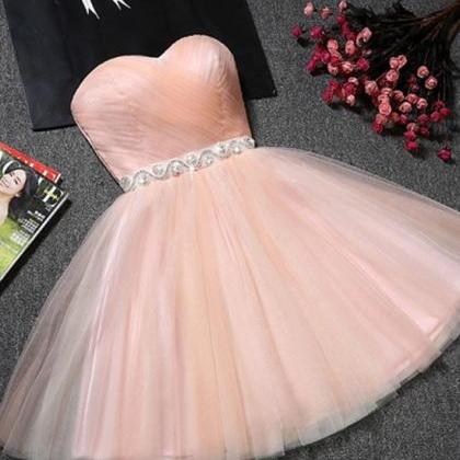 Cute A-Line Sweetheart Pink Tulle S..