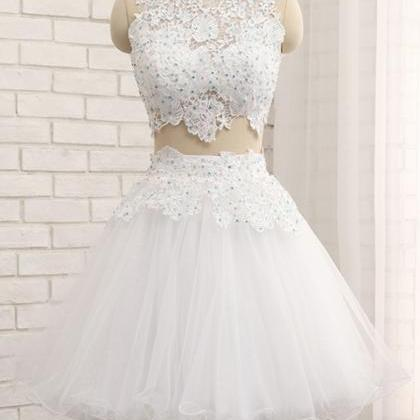 White tulle short two pieces homeco..