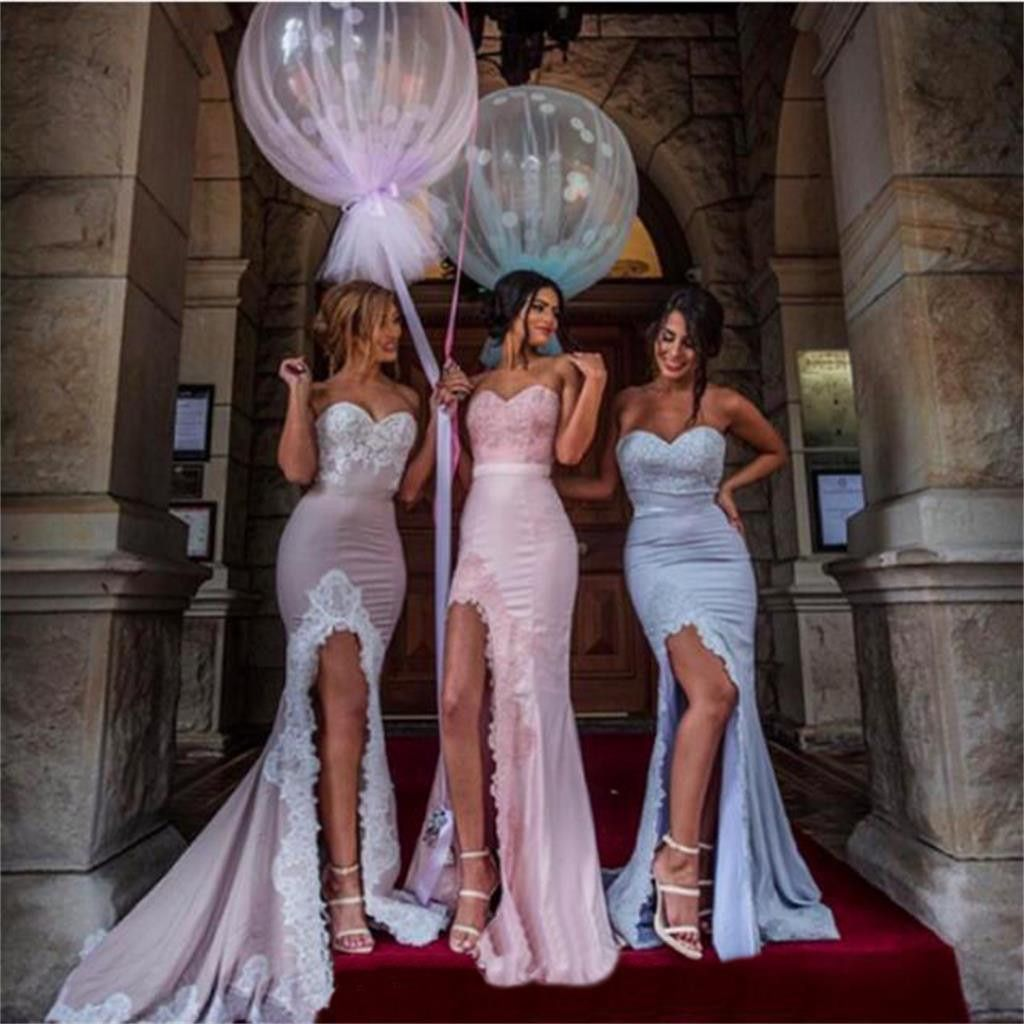 Sweetheart Mermaid Bridesmaid Dress ,Side Slit Bridesmaid Dresses,Most Popular Elegant Formal Bridesmaid Gown