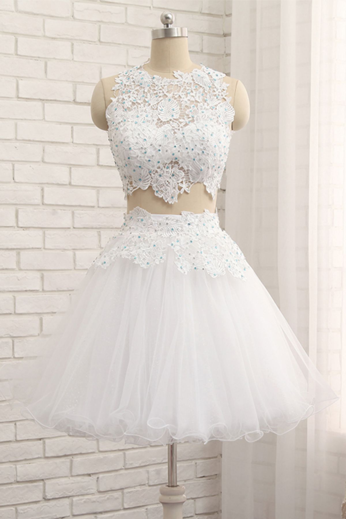 White tulle short two pieces homecoming dress, lace prom dress from Sweetheart Dress