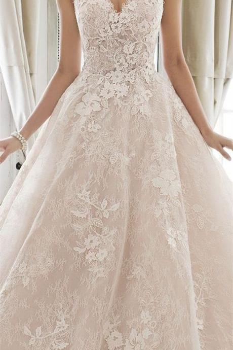 Sweetheart Neckline Ball Gown A Line Wedding Dress,Backless Spaghetti Wedding Dresses,Applique A Line Ball Gown,Strapless Wedding Dresses