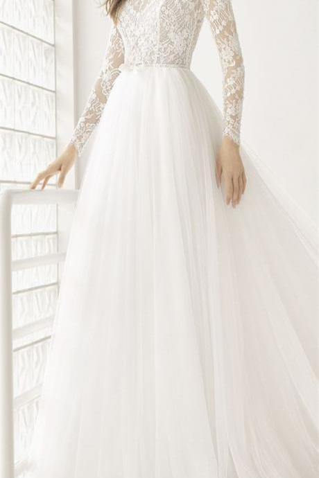 Sheer Lace Appliqués A-line Wedding Dress with Long Sleeves, Open Back and Long Train