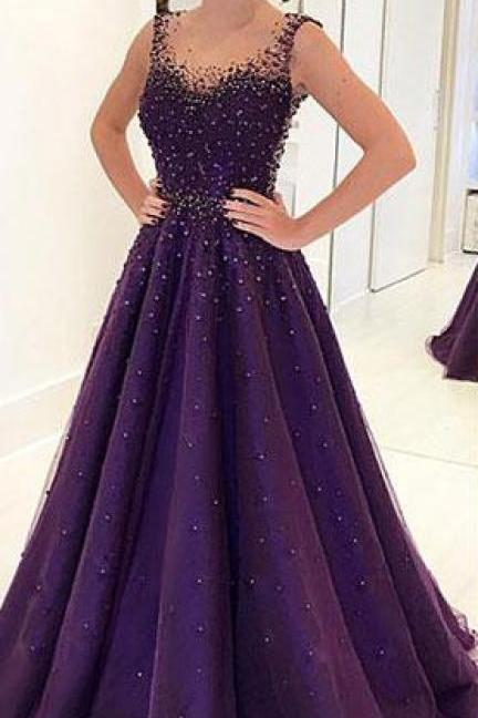Prom Dresses,Beading Prom Dress,A Line Prom Gown,Long Evening Dresses,Tulle Evening Gown