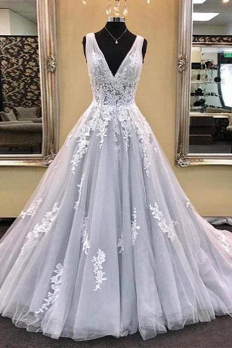 V Neck Silver Prom Dress A-line Long Prom Dress Simple Deep V-Neck Wedding Dresses Sleeveless Applique Wedding Dresses