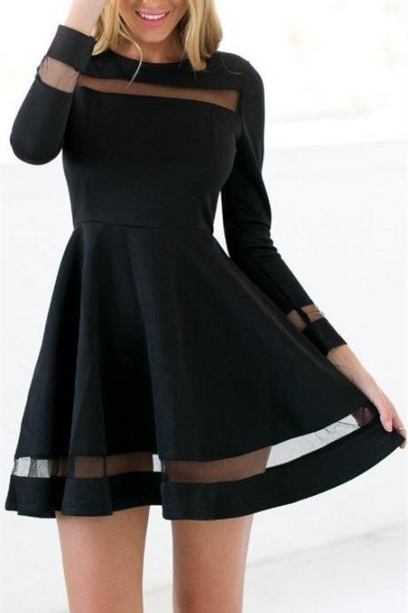Popular Black Tulle Homecoming Dress,Long Sleeves Short Prom Dress For Teen,Round Neck Homecoming Gown,Graduation Dress