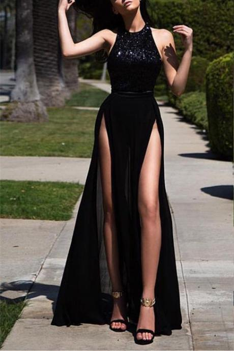 Black Prom Dress,Sexy Prom Dresses,High Slit Prom Dresses,A-line Prom Dress,Long Evening Dress,Sexy Formal Dress,Chiffon Prom Dresses,Women Party Gowns,Women Formal Dresses