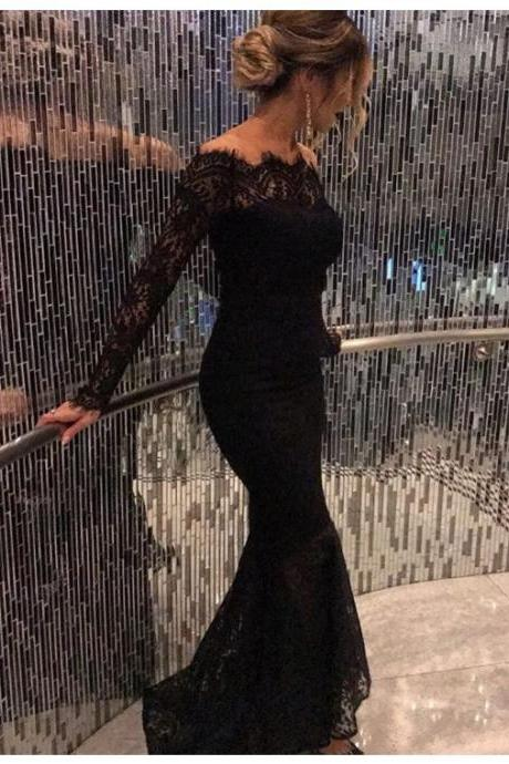 Mermaid Evening Dress,Elegant Prom Dress, Long Prom Dress, Lace Evening Dress,Formal Gown