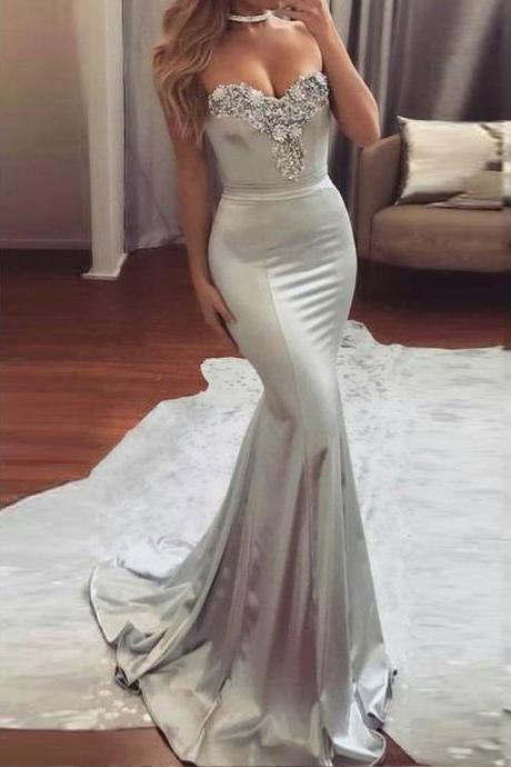 Long Prom Dresses, Satin Prom Dresses, Sexy Party Prom Dresses, Beading Evening Dresses, Sweet Heart Prom Dresses , Backless Prom Dresses