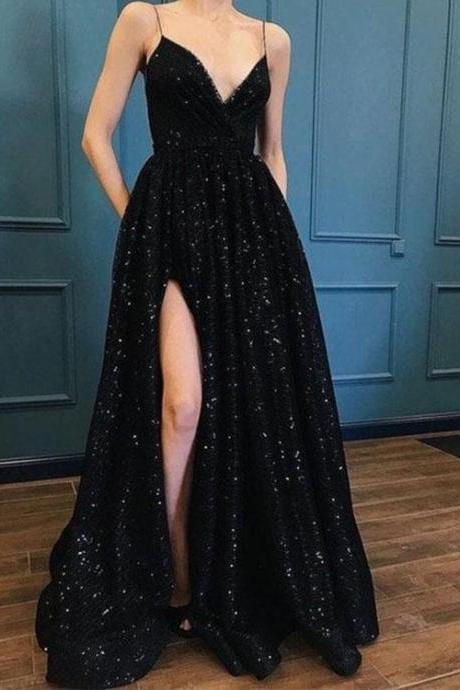 Hot Sexy A-Line Spaghetti Straps Black Long Prom/Evening Dress with Split Front
