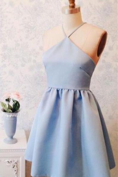 light blue homecoming dress,satin cocktail dresses,sexy prom dress,simple prom dress,new fashion homecoming dress for teens
