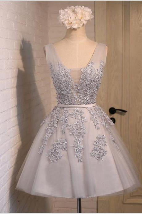 Charming Short V-Neck Bow Beading Appliques Tulle Lace Dress, A-line Homecoming Dress