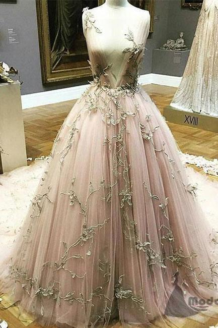 Sleeveless Plunging V Floral Appliqués A-line Long Prom Dress, Evening Dress, Wedding Dress with Long Train