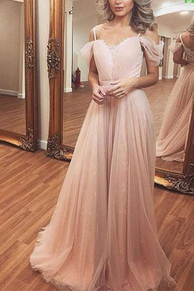 Charming A-Line Off-Shoulder Neck Pink Tulle Chiffon Long Prom/Evening Dress