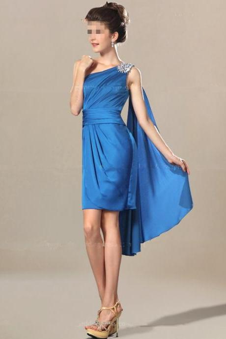 One Shoulder Chiffon Short Prom Dress,Sleeveless Short Prom Dress For Teens,Short Length Skirt Drapes With Cascading