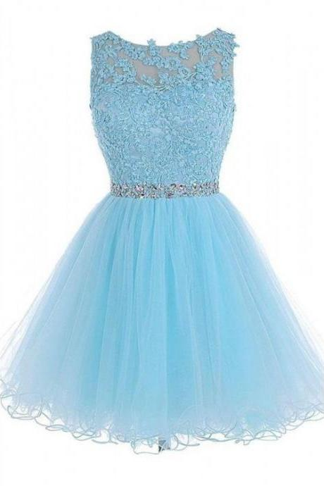 Light Sky Blue Homecoming Dresses, Short Homecoming Dresses, Short Light Sky Blue Homecoming Dresses With Rhinestone Mini Round