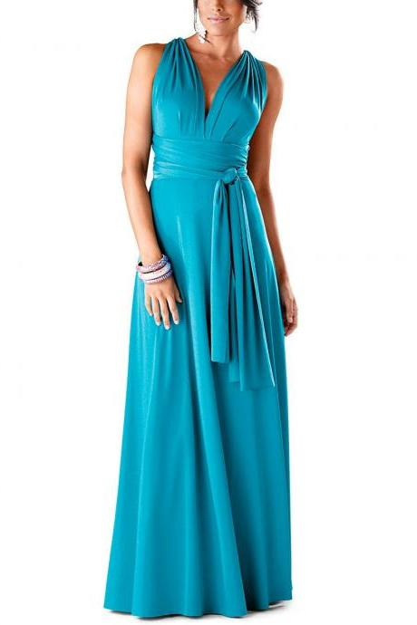Long V-Neck Prom Dress,Spaghetti Sleeveless Evening Gown,Prom Gown