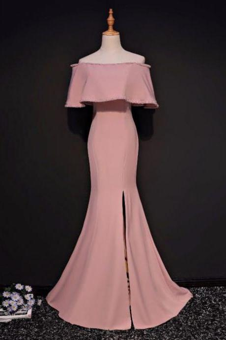 SIMPLE TRUMPET/MERMAID OFF-THE-SHOULDER FLOOR LENGTH PINK SATIN PROM DRESS EVENING DRESS