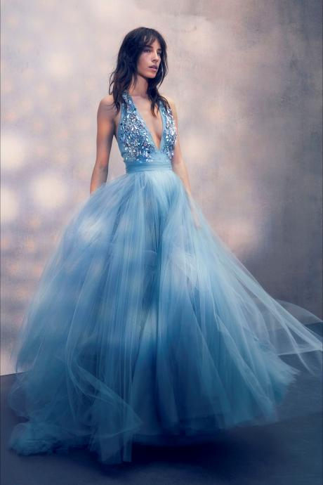 Blue Deep V Neck Sparkly Tulle Long Elegant Formal Real Handmade Prom Dresses, Party Evening dress
