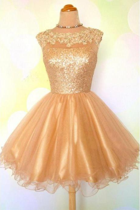 Princess Homecoming Dresses, Gold Homecoming Dresses, Short Prom Dresses With Sequin Cap Sleeve Round