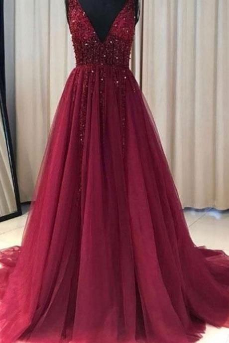 Cheap Red Prom Dress Tulle Lace Appliques V neck Prom Gown Wedding Party Dress