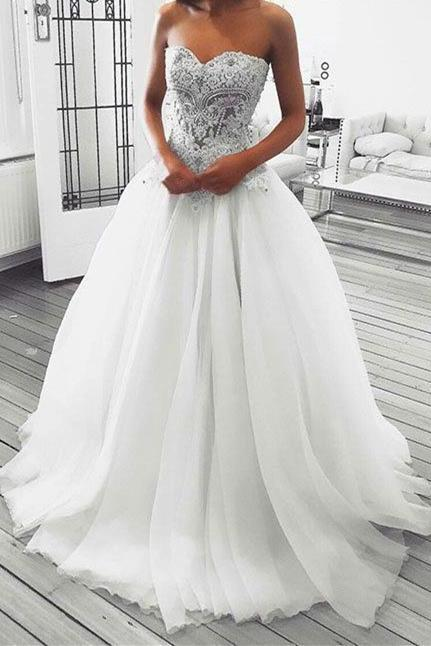 Strapless Sweetheart Beaded Ball Gown Wedding Dress