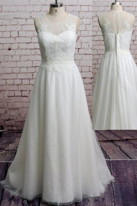 Sleeveless Sheer Lace Appliqués Tulle A-line Floor-Length Wedding Dress