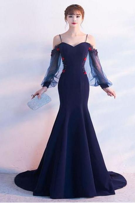 Long Sleeve Straps Mermaid Tulle Prom Dresses , Floor-Length Prom Dress
