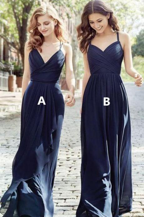 Long Cheap Chiffon Navy Blue Bridesmaid Dress Spaghetti Strap Bridesmaid Dresses