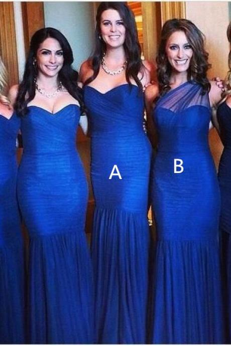 Royal Blue Mermaid Custom Made Bridesmaid Dresses,Bridesmaid Dresses,Bridesmaid Dresses