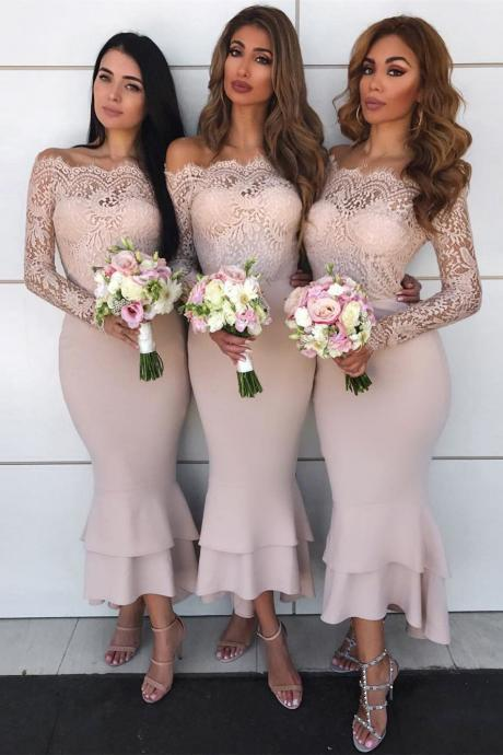 Sheath Off-the-Shoulder Long Sleeves Blush Bridesmaid Dress with Lace