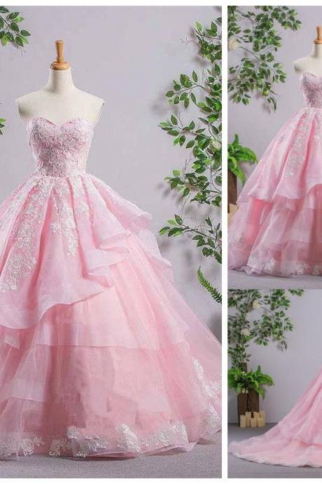Pink Sweetheart Lace Up With White Lace Embroidery Asymmetrical Long Prom Dress, Princess Prom Dress With Ruffles