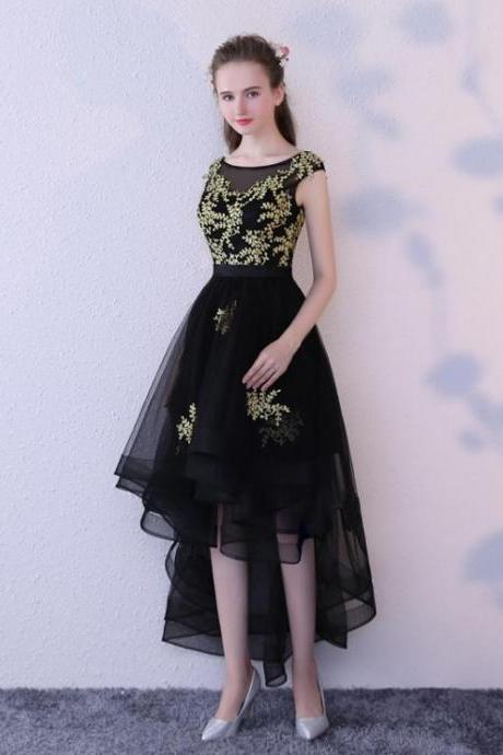 Outlet Short Prom Party Dress Fetching Black Party Dresses With Bateau Backless Applique Dresses