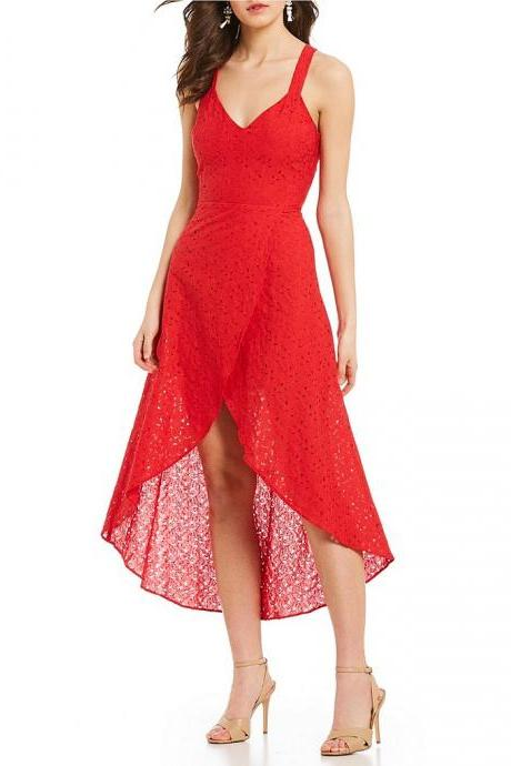 Red High low V-Neck Homecoming Dress,Spaghetti Straps Sleeveless Short Prom Dress