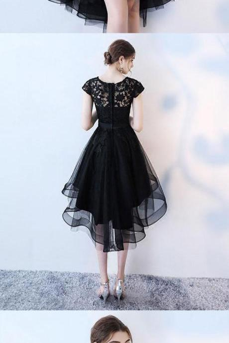 Black lace short prom dress, high low evening dress