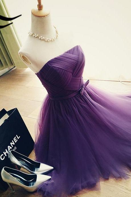 Outlet Colorful Prom Dresses Short Elegant A-Line Strapless Purple Tulle Short Homecoming Dress With Bowknot