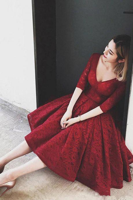 Fancy Burgundy Prom Dresses Half Sleeves Burgundy Homecoming Dress With Lace V-Neck Short Prom Dress