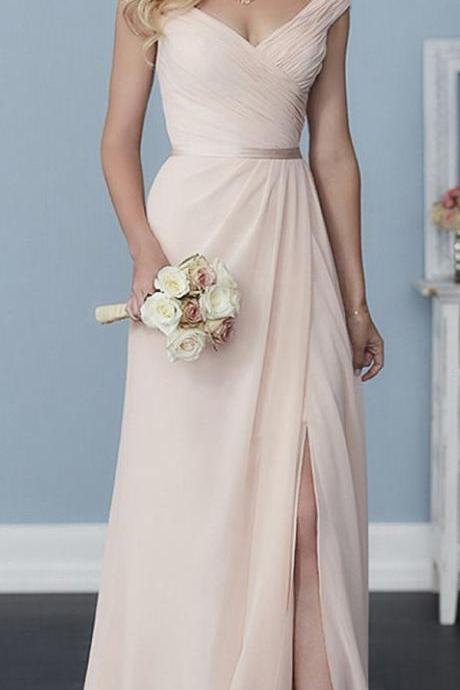 Cap Sleeves V-neck Floor Length Bridesmaids Dress,A-Line Chiffon Party Dress