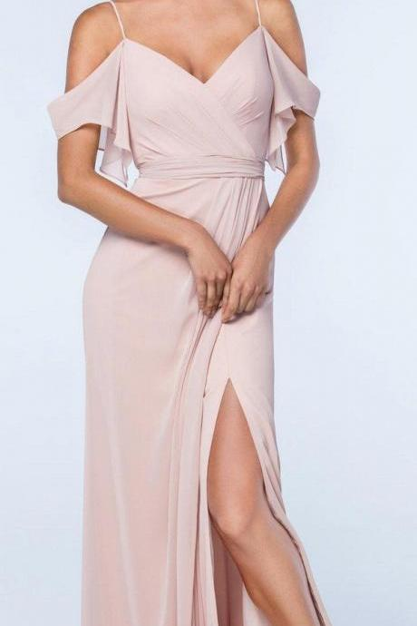 Spaghetti Straps Chiffon Sleeveless Bridesmaid Dress,Off The Shoulder Evening Dress