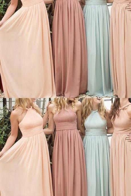 New Arrival Different Color Chiffon Floor Length Halter Bridesmaid Dresses,Wedding Party Dresses