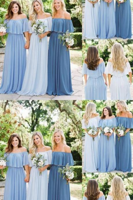 Long Off Shoulder Chiffon Simple Design Floor-Length Bridesmaid Dress, Dress for Wedding