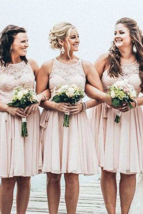 Short bridesmaid dress,lace bridesmaid dress,summer beach wedding party dress,cheap bridesmaid dress,bridesmaid dresses