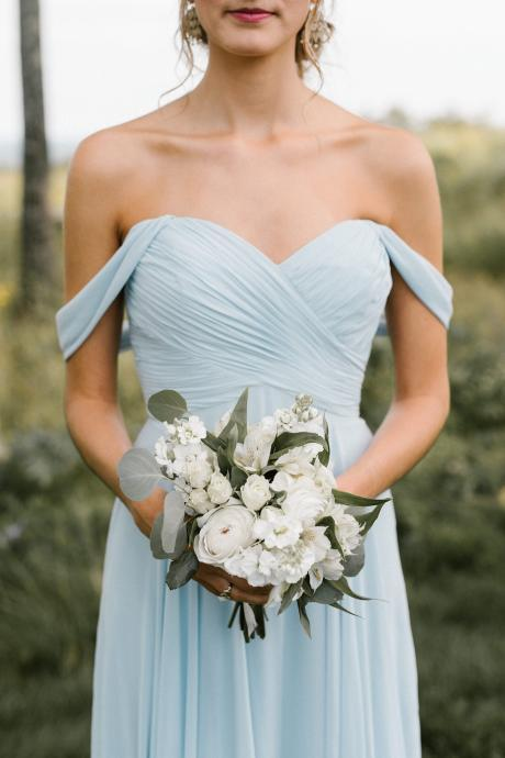 Light Blue Chiffon Off The Shoulder Sweetheart Bridesmaid Dress
