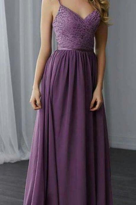 Spaghetti Straps Chiffon Backless Prom Dress,Floor Length Bridesmaid Dress