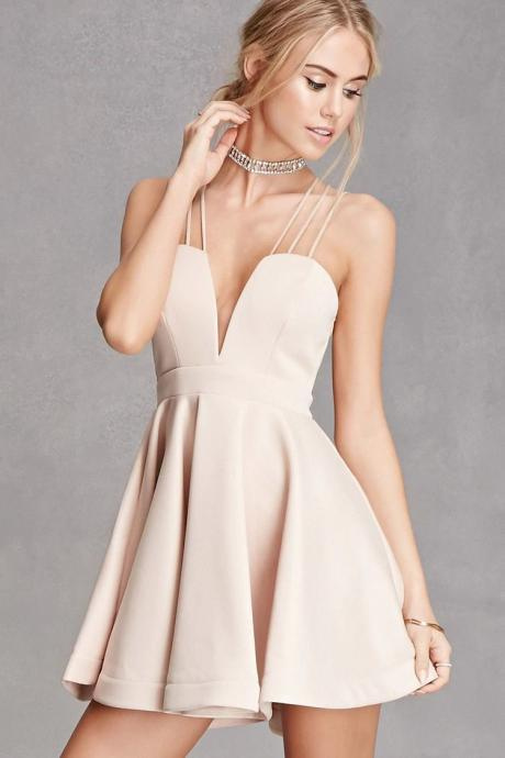 Spaghetti Straps V-Neck A-Line Homecoming Dress,Sexy Backless Short Party Dress