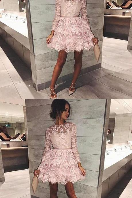 pink short homecoming dresses, long sleeves lace short prom dresses, lace tiered