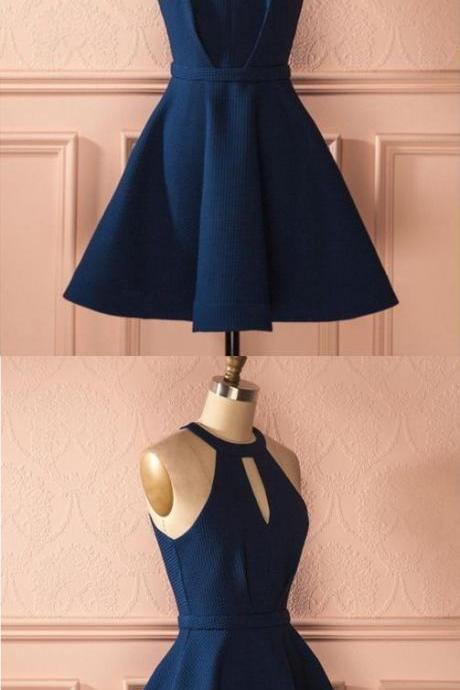 Cute A Line Halter Navy Blue Short Dress, Elastic Satin Navy Short Homecoming Dress