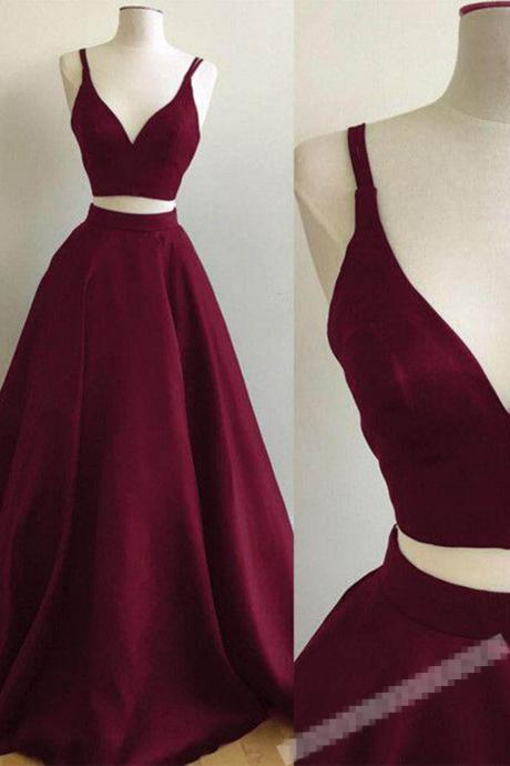 Two Pieces V-Neck Sleeveless Prom Dress, Two Pieces Party Dress