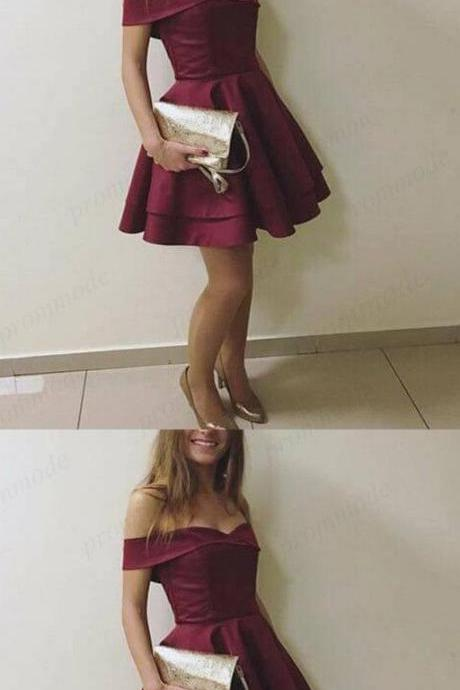 Burgundy Homecoming Dress,Off-the-Shoulder Prom Dresses, A-Line Short Party Dresses