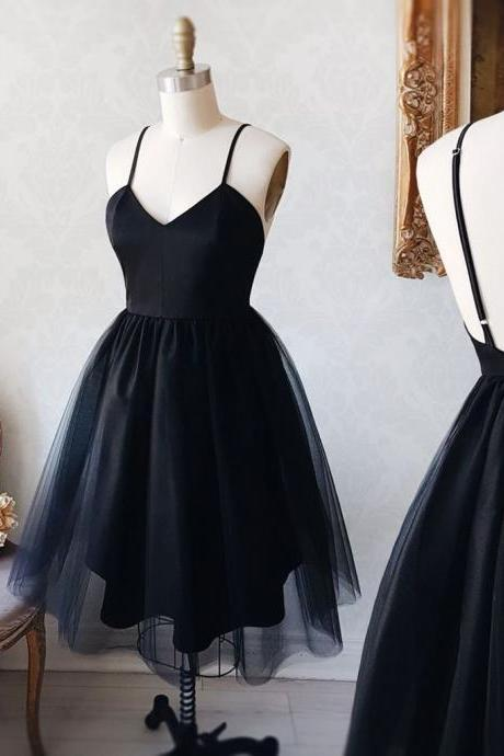 Black v neck Homecoming Dress,Cheap Homecoming Dress,short prom dress, homecoming dress
