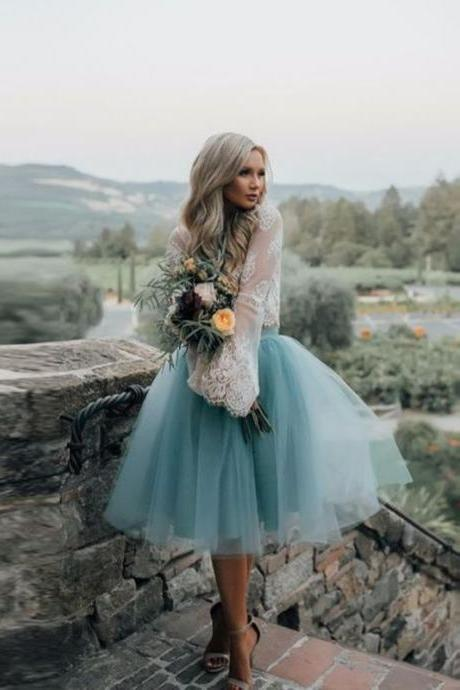 New Arrival Boho Style Long Sleeve See Through Lace Top Blue Tulle Homecoming Dresses